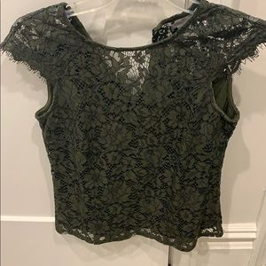 H&M XS Green lace top